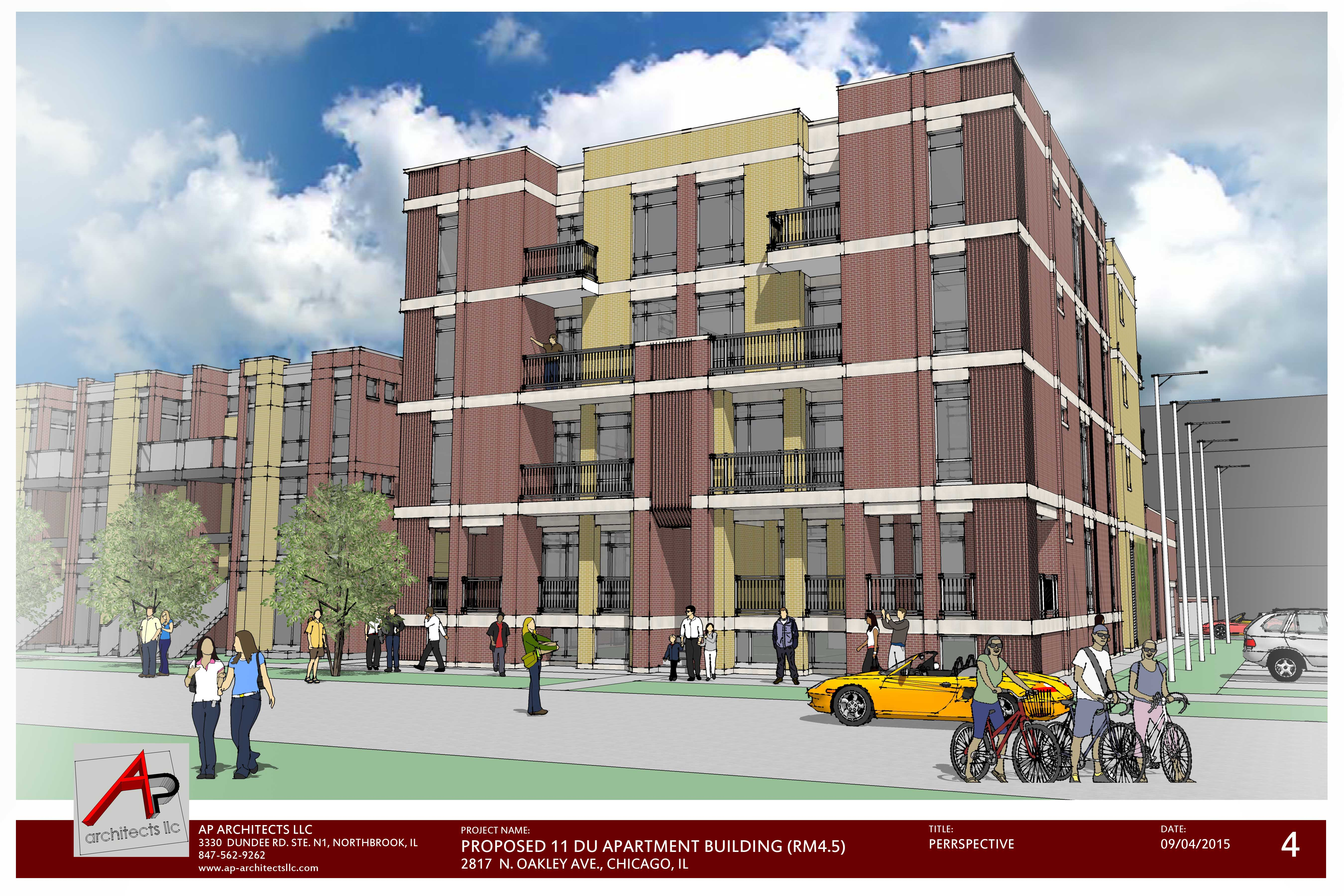 Proposed 11 DU Apartment Building 2817 N. Oakley Ave - Perspective View